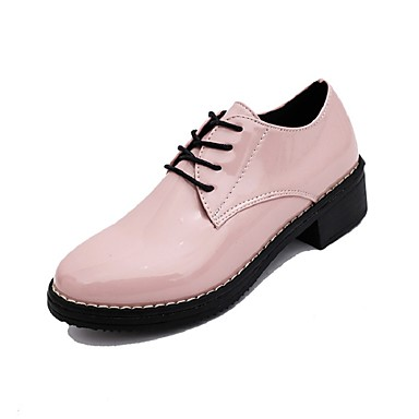Oxford-kengät-Matala korko-Naisten-PU-Musta / Pinkki / Valkoinen-Ulkoilu / Puku-Comfort / Teräväkärkiset