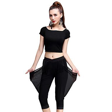 Latin Dans Drakter Dame Trening Tyll Modal Melkefiber Dusker 2 deler Kort Erme Naturlig Bukser Topp M:39CM,L:40CM,XL:41CM