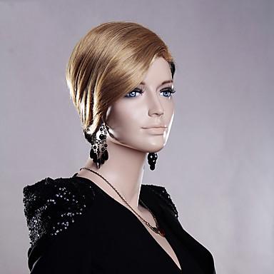 Kvinder Syntetiske parykker Lågløs Kort Glat Blond Sort paryk kostume Parykker