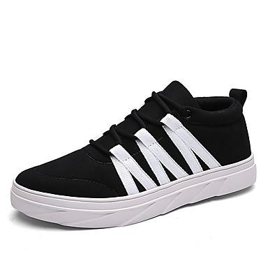 Heren Sneakers Lente Herfst Comfortabel Weefsel Casual Platte hak Veters Zwart Blauw Oranje