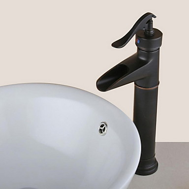 Antique Centerset Waterfall Ceramic Valve One Hole Single Handle One Hole Oil-rubbed Bronze , Bathroom Sink Faucet