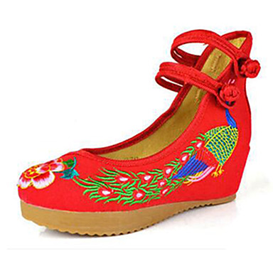 Mulheres Sapatos Lona Primavera Verão Conforto MaryJane Sapatos bordados Rasos Caminhada Sem Salto Presilha Flor para Casual Preto Bege