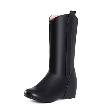 Hæle-Syntetisk laklæder Kunstlæder-Cowboystøvler Ridestøvler Modestøvler-Dame-Sort Rød Hvid-Bryllup Kontor Formelt Fritid Fest/aften-