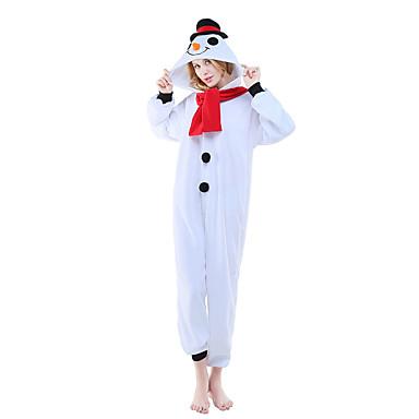 Pijamas Kigurumi Boneco de neve Pijamas Macacão Ocasiões Especiais Lã Polar Cosplay Para Adulto Pijamas Animais desenho animado Dia das