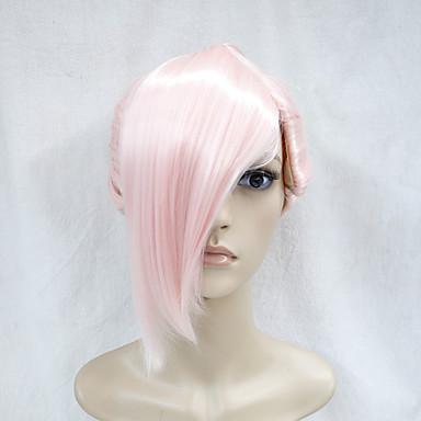 japansk høj kvalitet syntetisk hår lys rosa anime cosplay kostume kort ponytal paryk