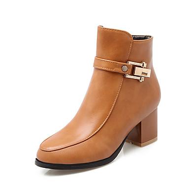 Støvler-Kunstlæder-Modestøvler-Dame-Sort Gul Beige-Udendørs Fritid Fest/aften-Tyk hæl