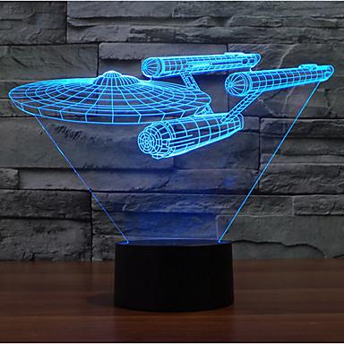 oorlogsschip touch dimmen 3d led-nachtlampje 7colorful decoratie sfeerlamp nieuwigheid verlichting licht
