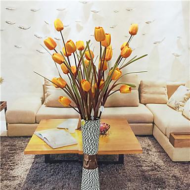 1 Ramo Poliéster Plástico Tulipas Flor de Mesa Flores artificiais