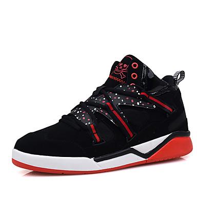 Masculino-Tênis-Conforto-Rasteiro-Preto Azul Preto e Vermelho-Tule Microfibra-Ar-Livre Casual Para Esporte