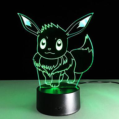 1 stk 3D natlys Usb Mangefarvet Glas ABS 1 Lampe Ingen Batterier Inkluderet 22.0*17.0*4.5cm