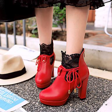 16 Bottes Automne Fermeture Lacet Similicuir Chaussures à Mode cm 05134163 15 24 Talon Hiver 10 Femme Demi Botte Bottier Bottes la Bottine q7EA8Rw