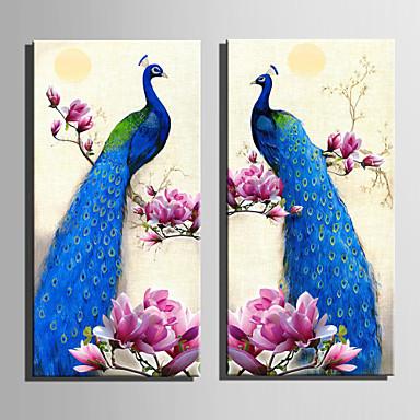 Tiere Blumenmuster/Botanisch Europäischer Stil, Zwei Panele Segeltuch Vertikal Druck Wand Dekoration Haus Dekoration