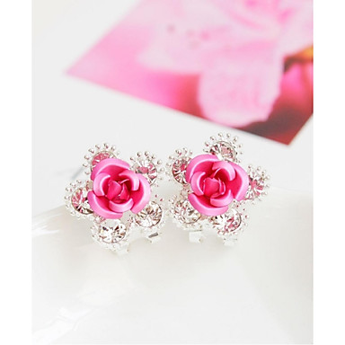 Mulheres Brincos Curtos - Flor Fashion Vermelho / Azul / Rosa claro Para Casamento / Festa