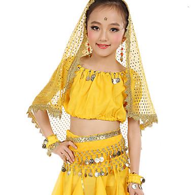 Dança do Ventre Roupa Crianças Espetáculo Poliéster Cetim Chifom Lantejoulas Moedas de Ouro Franzido Manga Curta Natural Blusa Calças