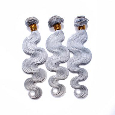 Βραζιλιάνικη Υφάνσεις ανθρώπινα μαλλιών Ίσια Προσθετική μαλλιών 3 Κομμάτια Ασημί