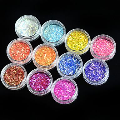 11pcs Nail Smykker Glitter & Poudre Pudder Glitters Klassisk Glitter & Sparkle Lys Bryllup Høy kvalitet Daglig Nail Art Design