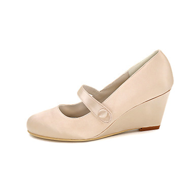 Eté Femme 05222045 Hauteur Soie Champagne à compensée de Chaussures Talons Mariage semelle Chaussures Boucle Printemps Rose Ivoire ftrtq