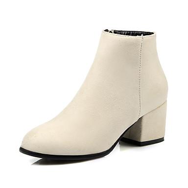 Støvler-Kunstlæder-Hæle / Ankelstøvler / Modestøvler-Dame-Sort / Beige-Udendørs / Kontor / Hverdag-Tyk hæl