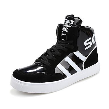 Sneakers-Kunstlæder Mikrofiber-Komfort-Herre-Sort Blå Hvid-Udendørs Fritid Sport-Flad hæl