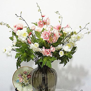 1 Ramo Poliéster Plástico Lótus Flor de Mesa Flores artificiais