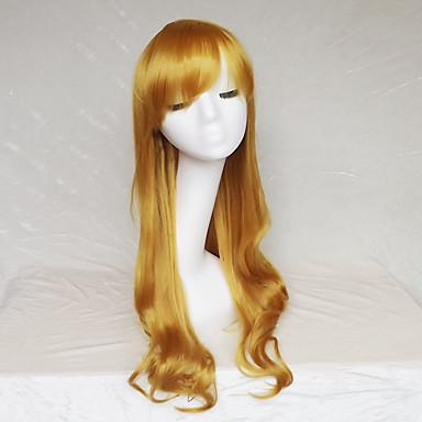 Szintetikus parókák Hullámos Aszimmetrikus frizura / Bretonnal Szintetikus haj Természetes hajszálvonal Barna Paróka Női Hosszú Sapka nélküli