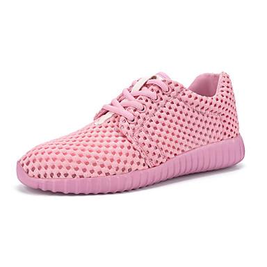 Damer Sneakers Komfort Tyl Forår Sommer Afslappet Gang Komfort Snøring Flad hæl Sort Beige Lys pink Flad