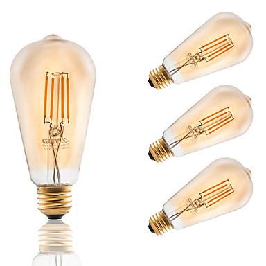 E26/E27 LED-glødepærer ST21 4 leds COB Mulighet for demping Dekorativ Ravgult 300lm 2200K AC 110-130V