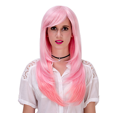 roze gradiënt lang haar wig.wig lolita, halloween pruik, kleur pruik, mode pruik, natuurlijke pruik, cosplay pruik.