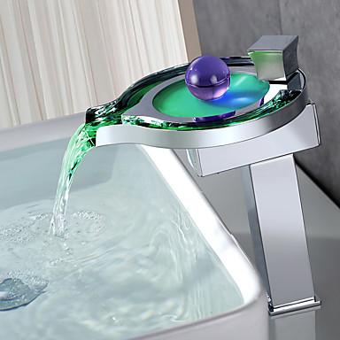 Baderom Sink Tappekran - Foss LED Krom Centersat Enkelt Håndtak Et Hull