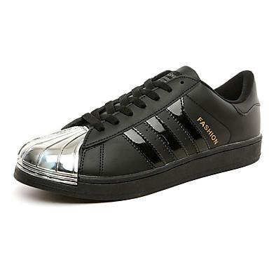 Sneakers-Læder-Komfort-Herre-Sort Hvid Sølv Sort og Hvid-Udendørs Fritid Fest/aften-Flad hæl