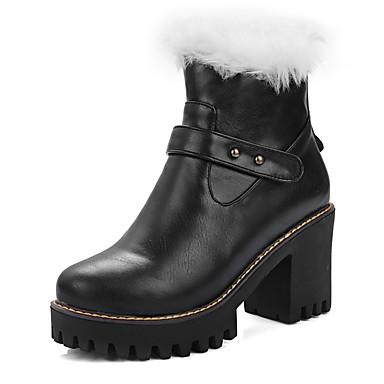 Bootsit-Leveä korko-Naisten-Tekonahka-Musta Ruskea Manteli-Puku-Talvisaappaat