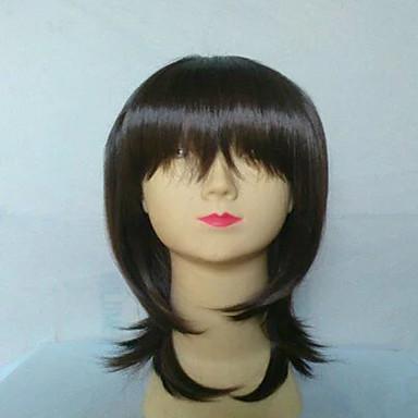 Kvinder Syntetiske parykker Lågløs Glat Mørkebrun Bob frisure Sort paryk kostume Parykker