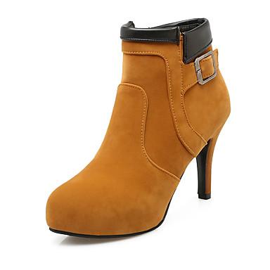 Damen Schuhe Kunstleder Winter Herbst Stiefeletten Stiefel Stöckelabsatz Plattform Schnalle Reißverschluss für Normal Büro & Karriere