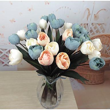 1 1 Branch Plastikk Tulipaner Bordblomst Kunstige blomster 18.5inch/47cm