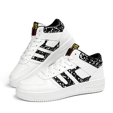Miesten kengät Tekonahka Kevät Kesä Syksy Talvi Comfort Tasapohjakengät Solmittavat varten Kausaliteetti Valkoinen Musta