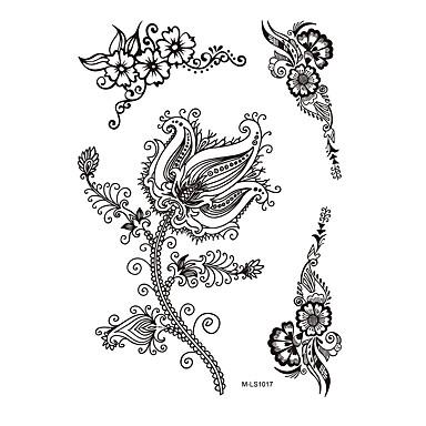 1 Tatoveringsklistermærker Blomster Serier Ikke Giftig Mønster Vandtæt henna BryllupDame Voksen Flash tatovering Midlertidige Tatoveringer