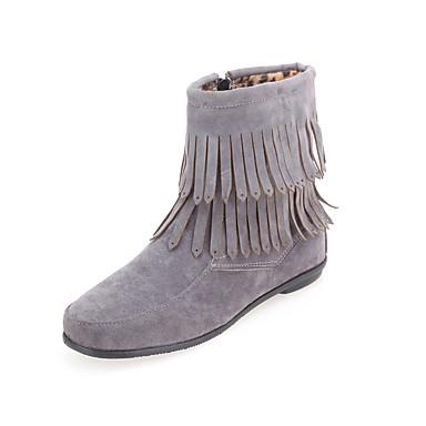 Støvler-Kunstlæder-Modestøvler-Dame-Sort Rød Grå Kaffe-Udendørs Kontor Fritid-Lav hæl