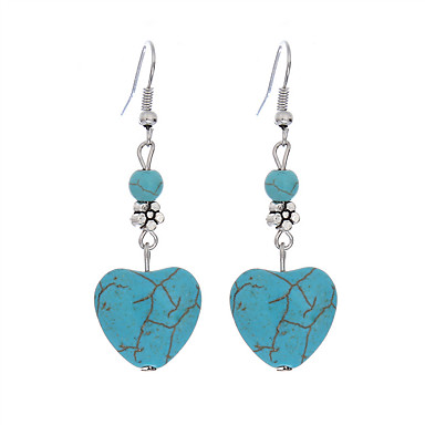 cheap Earrings-Women's Turquoise Drop Earrings Two Stone Heart Love Ladies Vintage Bohemian European Fashion Boho Silver Plated Turquoise Earrings Jewelry Blue For Daily Casual 1pc