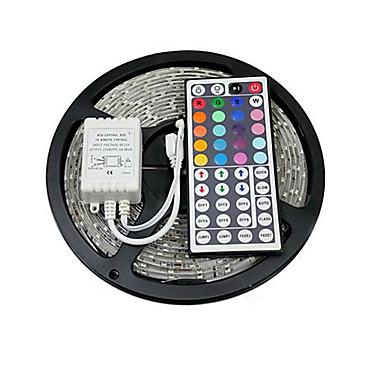 5 m Lyssæt 150 lysdioder 5050 SMD RGB Fjernbetjening / Chippable / Koblingsbar 12 V / Selvklæbende / Farveskiftende