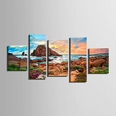 Canvas Set Landskap Europeisk Stil,Fem Paneler Lerret Vertikal Print Art Wall Decor For Hjem Dekor