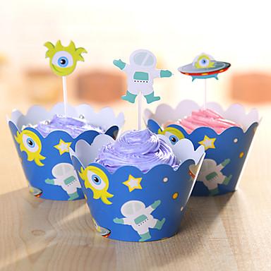 Fødselsdag Party Service-Kagetilbehør Mærkat Kort Papir Rustik Theme