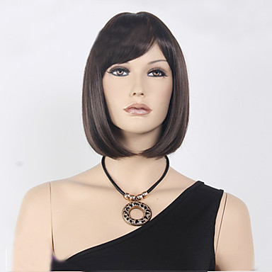 Synthetic Wig Straight Style Bob Capless Wig Brown Dark Brown Synthetic Hair Women's Brown Wig Short Black Wig
