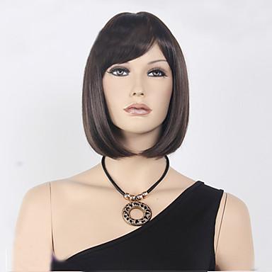 Synteettiset peruukit Suora Bob-leikkaus Otsatukalla Tiheys Suojuksettomat Naisten Ruskea Carnival Peruukki Halloween Peruukki musta Wig