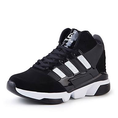 Herrer Sneakers Komfort Stof Forår Sommer Efterår Vinter Atletisk Basketball Komfort Snøring Flad hæl Hvid Sort Marineblå Flad