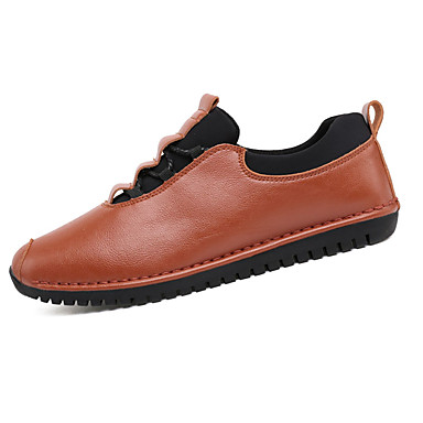 Herre Flate sko Komfort PU Vår Høst Avslappet Gange Komfort Snøring Flat hæl Svart Brun Flat