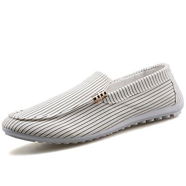 Masculino Sapatos de Barco Lona Outono Casual Caminhada Rasteiro Branco Preto Rasteiro