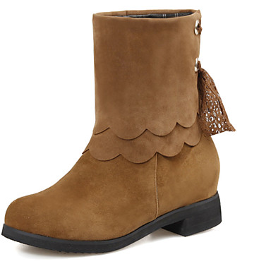 Sort / Brun / Rød / Beige-Tyk hæl-Kvinders Sko-Modestøvler-Kunstlæder-Udendørs / Kontor / Hverdag-Støvler