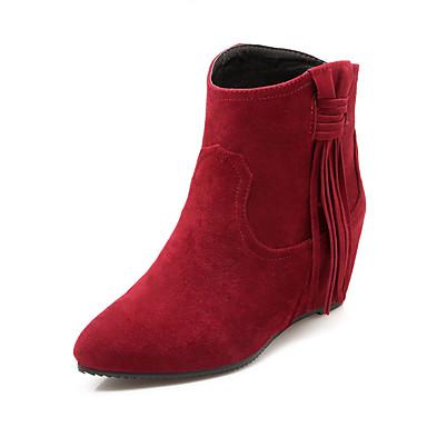 Støvler-Kunstlæder-Modestøvler-Dame-Sort Gul Rød Beige-Udendørs Kontor Fritid-Kilehæl