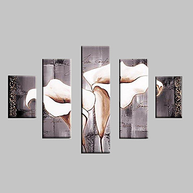 Hand-Painted Floral/Botanical Any Shape, Classic Modern Traditional Oil Painting Home Decoration Five Panels