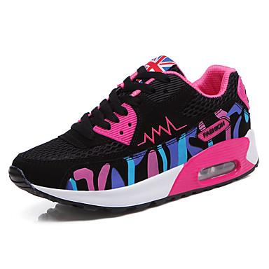 Damen Schuhe Tüll Frühling Herbst Komfort Sneakers Flacher Absatz Schnürsenkel Für Sportlich Normal Weiß Fuchsia Rosa